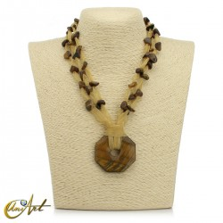 Organza and tiger eye necklace with donut pendant