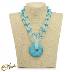 Organza and turquenite necklace with donut pendant
