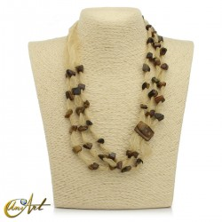Organza and natural stone necklace - stone clasp