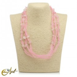 Organza and natural stone necklace without donut pendant