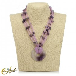 Organza and amethyst necklace with donut pendant
