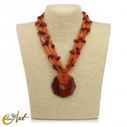 Organza and red jasper necklace with donut pendant