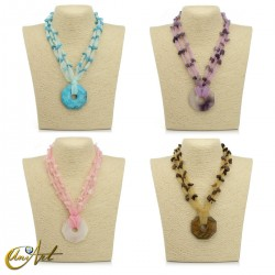 Organza and natural stone necklace with donut pendant