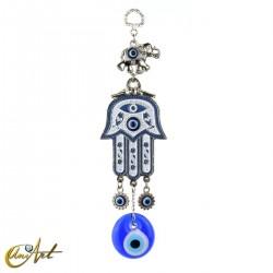 Mano de Fátima con ojo turco y elefante - azul