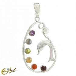 Dolphin pendant with Chakra stones