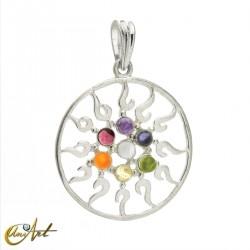 Chakra pendant, solar symbol