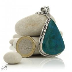 Triangular chrysocolla pendant in sterling silver - model 3
