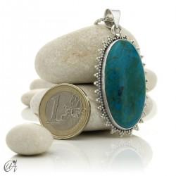 Chrysocolla pendant in sterling silver, oval - model 3