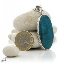 Chrysocolla pendant in sterling silver, oval - model 2