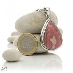 Sterling silver teardrop pendant with rhodochrosite - model 1