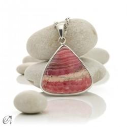 Sterling silver teardrop pendant with rhodochrosite - model 2