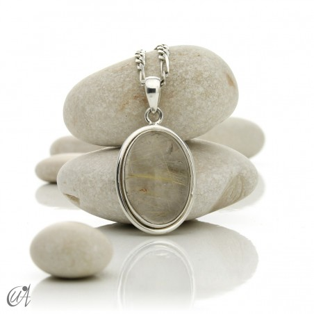 Pendant of quartz with rutile and sterling silver - oval , model 1