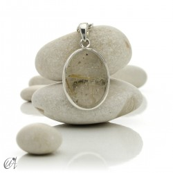 Pendant of quartz with rutile and sterling silver - oval , model 5