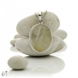 Pendant of quartz with rutile and sterling silver - oval , model 6
