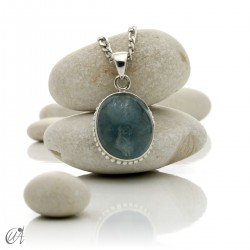 Aquamarine pendants in sterling silver, oval