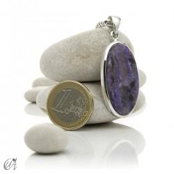 Oval charoite pendant in 925 silver- model 2