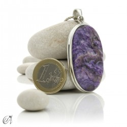 Oval charoite pendant in 925 silver- model 4