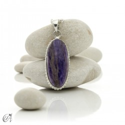 Vintage oval charoite and sterling silver pendant - model 1