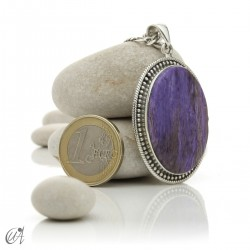 Vintage oval charoite and sterling silver pendant - model 3