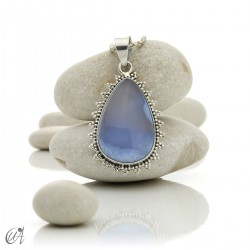 Gothic blue chalcedony and sterling silver pendant - model 1