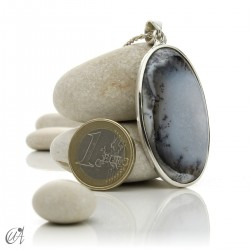 Oval pendant in 925 silver and dendritic opal, model 6