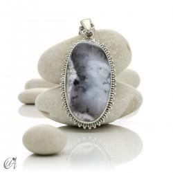 Dendritic opal pendant in sterling silver, model 4