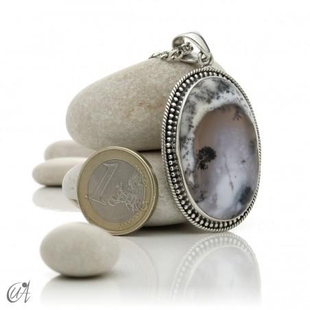 Dendritic opal pendant in sterling silver, model 7