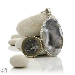 Dendritic opal pendant in sterling silver, model 6