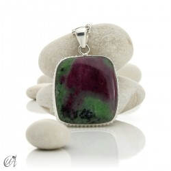 Sterling silver with ruby, rectangular pendant - model 5