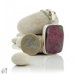 Sterling silver with ruby, rectangular pendant - model 4