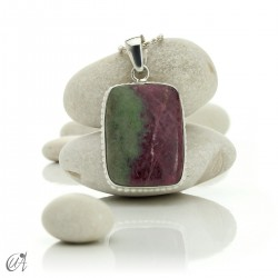 Sterling silver with ruby, rectangular pendant - model 3