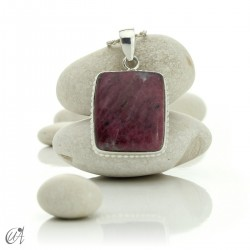 Sterling silver with ruby, rectangular pendant - model 2