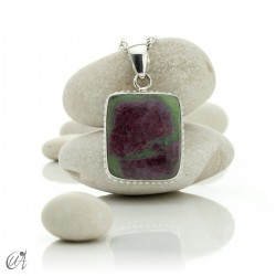 Sterling silver with ruby, rectangular pendant