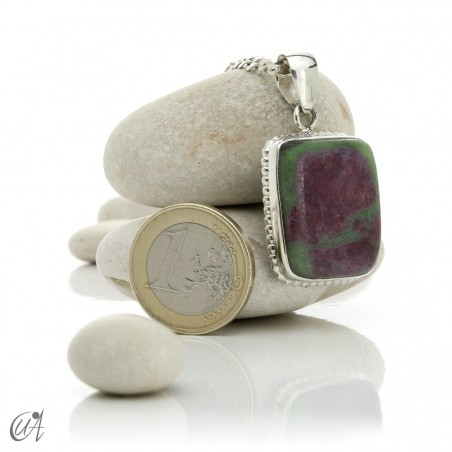 Sterling silver with ruby, rectangular pendant - model 1