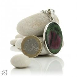 Colgante de rubí en plata de ley, ovalado -  modelo 2