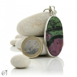 Colgante de rubí en plata de ley, ovalado -  modelo 5