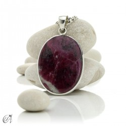 Ruby pendant in sterling silver, oval