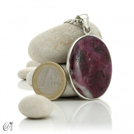 Colgante de rubí en plata de ley, ovalado -  modelo 4