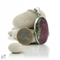 Colgante de rubí en plata de ley, ovalado -  modelo 8
