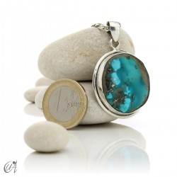 Natural turquoise pendant in 925 silver - model 2