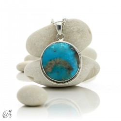 Natural turquoise pendant in 925 silver - model 3