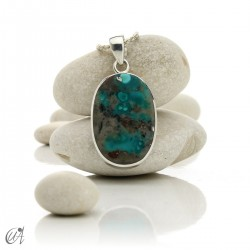 Turquoise in sterling silver, oval pendant, model 1