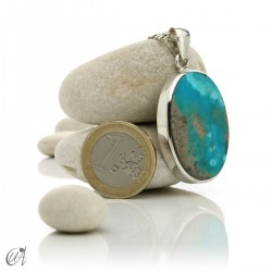 Turquoise in sterling silver, oval pendant, model 2