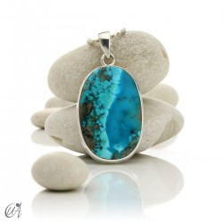 Turquoise in sterling silver, oval pendant, model 3