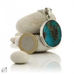 Turquoise in sterling silver, oval pendant, model 4
