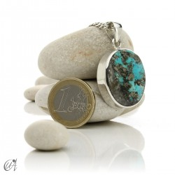 Turquoise in sterling silver, oval pendant, model 5