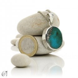 Turquoise in sterling silver, oval pendant, model 6