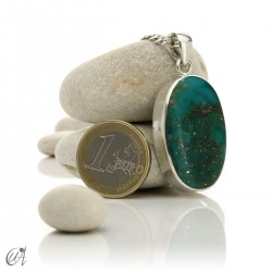 Turquoise in sterling silver, oval pendant, model 7