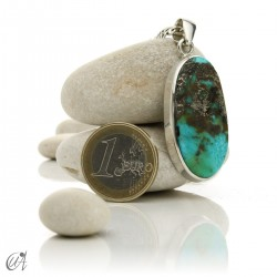 Turquoise in sterling silver, oval pendant, model 8