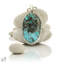 Turquoise in sterling silver, oval pendant, model 9
